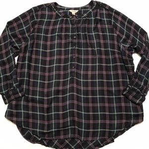 Lucky Brand Plus Size Flannel Top 3X
